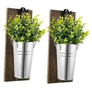 Galvanized Metal Wall Planter With Artificial Greenery Plants Farmhouse