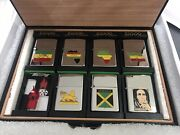 Zippo Lighters 7 Various Designs Displayed In A Leather Case Made In 1991/92