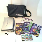 Leap Frog Quantum Pad Learning System Iquest 4.0 Cartridges Books Carrying Bag