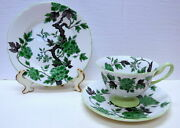 Shelley England Ovington Set Footed Cup, Saucer And Plate Green And Black Floral
