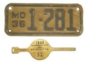Rare 1936 Missouri Motorcycle License Plate And Tax Tag Indian Harley Knucklehead