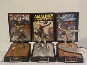 Comic Book Chapions Limited Fine Pewter Statue-silver Surfer-spiderman-wolverine