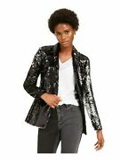 Inc Womens Black Sequined Evening Jacket Size M