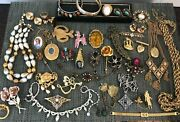 Huge Vintage Lot Of 40 Costume Jewelry Lot Some Signed Coro Coventry Monet Avon