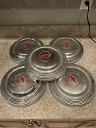 1965 65 Chevy Impala Dog Dish Style Hubcap Red Bowtie Vintage Hot Rod Car Used