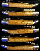 Hand-crafted Exqu Laguiole Style Birdseye Maple Steak Knives. Set Of 6