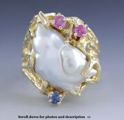 Modern Baroque Pearl 14k Gold Cocktail Ring W/ Blue And Pink Sapphires