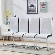 Dining Chairs Set Of 4 Faux Leather High Back Living Room Kitchen Office Chair