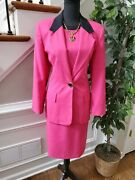 Jacqueline Ferrar Women's Pink Polyester And Rayon Long Sleeve Two Piece Suits 8