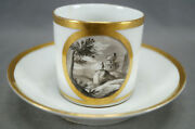 Locre La Courtille Hand Painted Landscape Scene Coffee Can And Saucer 1773-1824 D