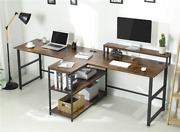 Used Double Computer Desk Storage Shelves Gaming Table Workstation Home Office