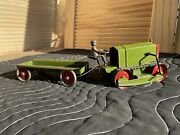 Kingsbury Toys Little Jim J. C. Penny Wind-up Tractor W/ Wagon Rare Works