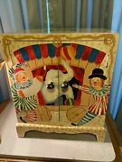 Vintage Childs Circus Wagon Toy Chest Wood Storage Box Hand Painted Cabinet