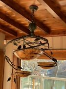 Pre-owned Maitland-smith 8118-19 Steel And Patina Brass Chandelier, Penshell Inlay