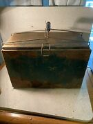 Antique Metal Cooler Ice Chest Rare 16 By 11 By 8 Inches