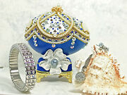 Faberge Egg Christmas Gift For Women Russian Jewelry Box Happy Mother's Day 24k