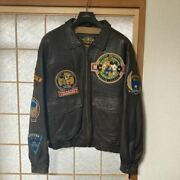 Disney Mickey Mouse Flight Jacket Leather Jean Vintage Made Of Top Gun