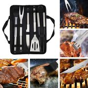 Bbq Grill Stainless Steel Barbecue Grilling Set Accessories Tools Piece Set Case