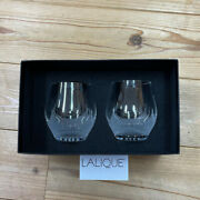 Lalique Original Small Tumbler Pair Glass 380ml From Japan With Box Shopping Bag