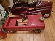E109 Vintage 1950/60's Amf Fire Chief Car No 503 Peddle Car With Bell