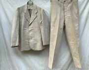 Rare Military Antique Taisho Period Linen Jacket Pants Set Vintage From Japan