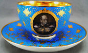 19th Century Kpm Berlin Wilhelm I Royal Blue Gold Floral Oversized Cup And Saucer