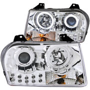 Anzo Projector Headlights W/ Halo Chrome Fits 2005-2010 Chrysler 300 121136