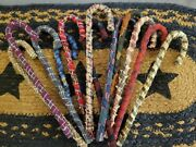 Lot Of 12 Primitive Candy Cane Ornaments Fabric Farmhouse Christmas Ornies