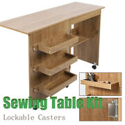 Brown Folding Sewing Craft Table Shelves Storage Cabinet Home Furniture Casters