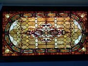 Late 19th Century 47 X 87 Framed Non-religious Stained Glass Window