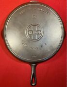 Griswold Cast Iron Size 12andnbspskillet Block Logo Sits Flat