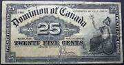 Canada 1900 Shinplaster 25 Cent Frac Note About Vf Saunders Signed
