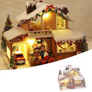 Wood Christmas Snow Night Dollhouse Kit Led Light Crafts Building 3d Puzzles