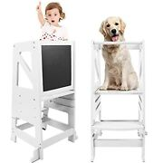 Kids Kitchen Step Stool Wooden Learning With Safety Rail And Chalkboard White