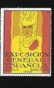 Poster Stamp Label Expo General Espanola 1929 Seville Barcelona Woman In Yellow
