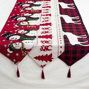 Christmas Table Runner Linen Elk Snowman Decorations Home Ornaments Gifts
