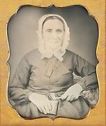 Elderly Woman Holding Clay Pipe Smoking Spectacles 1/6 Plate Daguerreotype H619