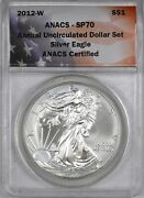 2012-w American Silver Eagle Uncirculated Set 1 - Anacs Sp70 -