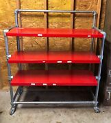 Polo Department Store Rolling Red Shelving Display Rack