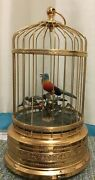Singing Bird In A Cage Musical Automaton Box Mechanical Works Perfect 11andrdquo Rare