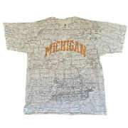 Vintage Michigan State Map All Over Print Shirt Adult Mens Xl Spell Out Detroit