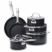 Searsmart Hard Anodized Healthy Cookware Pots And Pans Set, 10-piece Black