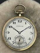 Rare Hamilton 920 Pocket Watch Triple Signed Solid 14k Gold 23 Jewel 12 Size Wow