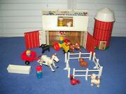 Vintage 1968 Fisher Price Little People Animals Play Family Farm And Silo 915
