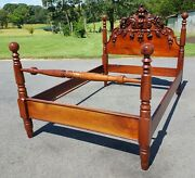 Antique Walnut Victorian Bed With Carved Fruit Headboard