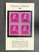 Samuel Gompers  71 Year Old Mint Vintage Stamp Block From 1950. 3 Cents