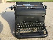 Vintage Typewriter Lc Smith Super-speed Made In Usa Antique Chrome-ringed Keys