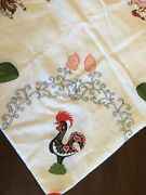 Vintage Burlap Type Fabric Rooster Tablecloth Fringed 55andrdquo X 60 Euc
