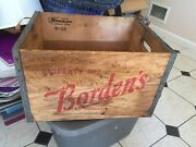 Vintage Wood Bordens Milk Crate Box Red Letters Dunning Corporation Sturdy Tight
