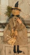 Arabella Cloth Witch Doll W Broom Primitive Halloween Country Farmhouse New